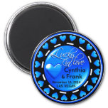 Vegas Lucky in Love Hearts Casino Chip blue 2 Inch Round Magnet