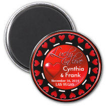 Vegas Lucky in Love Hearts Casino Chip red Magnet