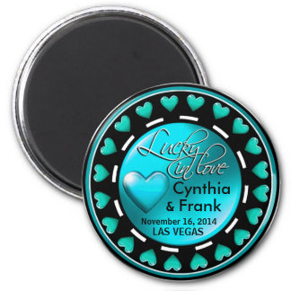 Vegas Lucky in Love Hearts Casino Chip teal 2 Inch Round Magnet