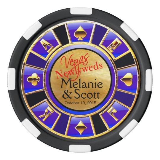 Vegas Newlyweds Casino blue navy gold Poker Chips