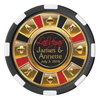 Vegas Newlyweds Casino Chip Red & Black Poker Chips