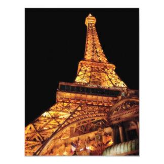 """Vegas - París - restaurante de la torre Eiffel Invitación 4.25"""" X 5.5"""""""