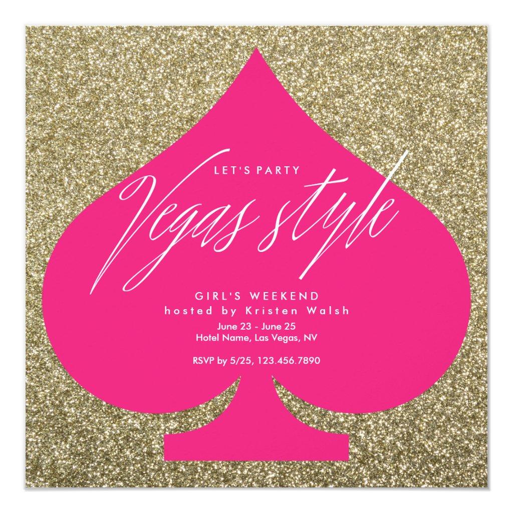 Vegas party invitations faux glitter