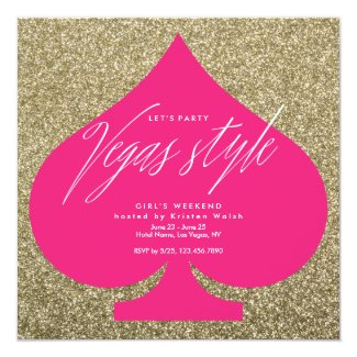 Vegas party invitations faux glitter