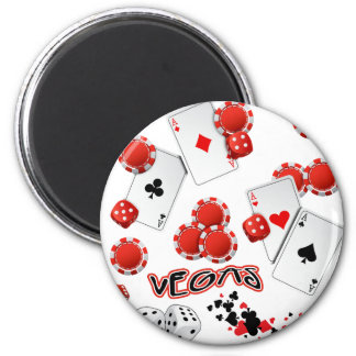 Vegas Poker Chips and Dice 2 Inch Round Magnet
