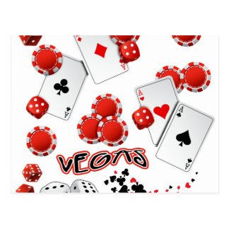 Vegas Poker Chips and Dice Postcard