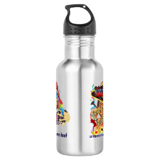 Vegas Pool Pirate 2 Different designs text Water Bottle