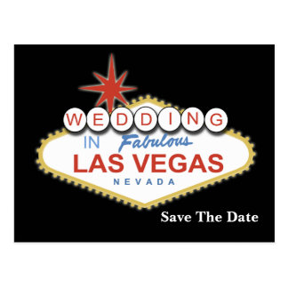 vegas save the date announcement post card