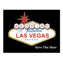 vegas save the date announcement postcard