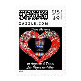 Vegas Save the Date Slot Machine Heart Postage