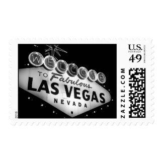 Vegas Sign B&W Postage