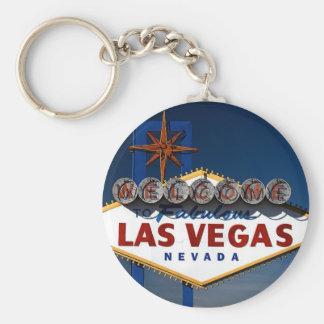 Vegas Sign Dusk Basic Round Button Keychain