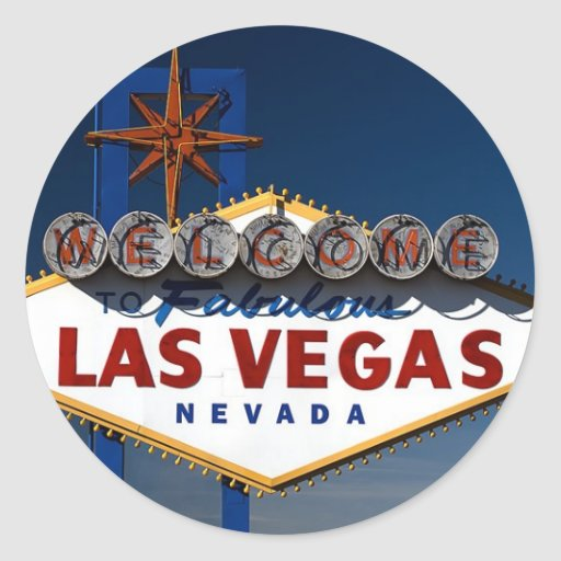 Vegas sign dusk classic round sticker zazzle for Arts and crafts stores in las vegas