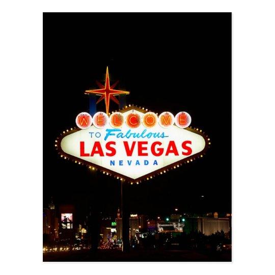 Vegas Sign Lit Up Postcard