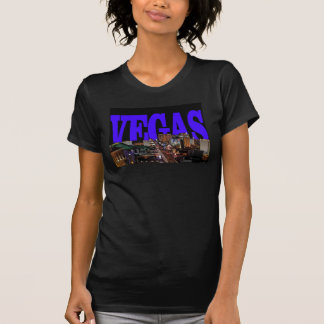 VEGAS Strip Ladie's Black Tee Blue Lettering