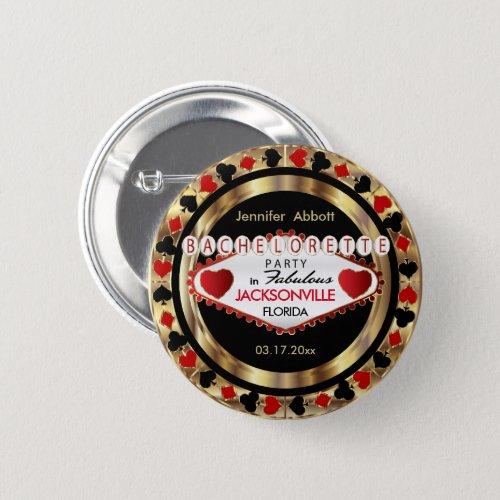 Vegas Style Bachelorette Party  _ DIY City  State Pinback Button