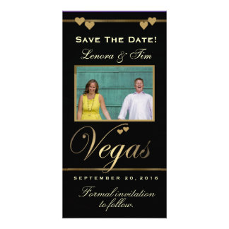 Vegas theme save the date photo card
