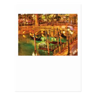 Vegas - veneciano - el veneciano en la noche tarjeta postal