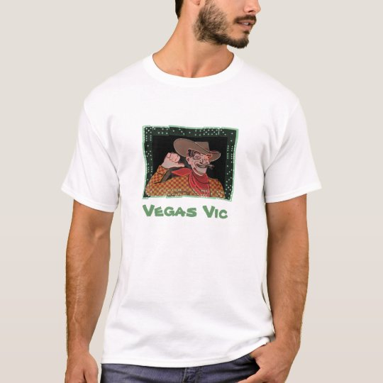 Vegas Vic Shirt, with green dice frame T-Shirt