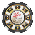 Vegas Wedding Casino white black gold Set Of Poker Chips