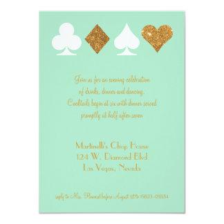 Vegas Wedding Celebration Mint Gold Faux Glitter Card