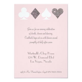 Vegas Wedding Celebration Pink Silver Faux Glitter Card