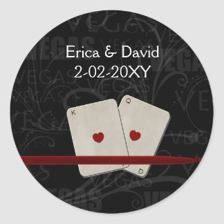 Vegas wedding envelope seal classic round sticker