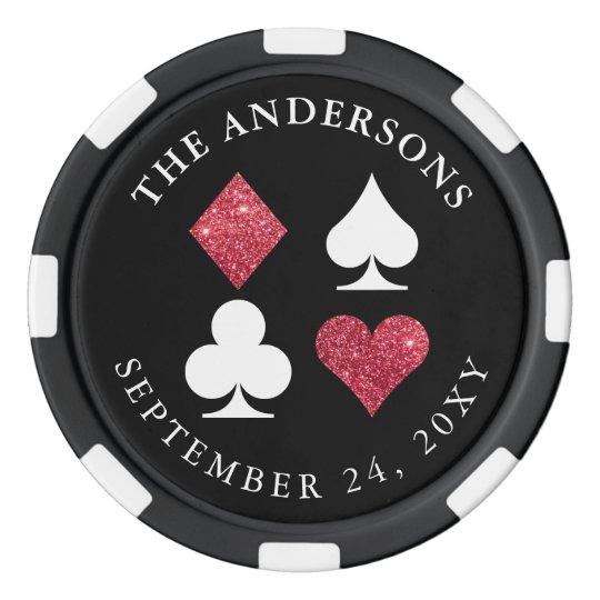 Vegas Wedding Favor Black Poker Chip Red Glitter Zazzle