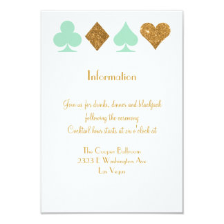 Vegas Wedding Mint Green and Gold Extra Info Card