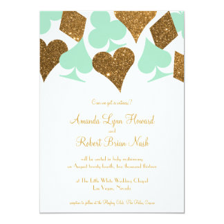 vegas wedding mint green and gold faux glitter card - Mint And Gold Wedding Invitations