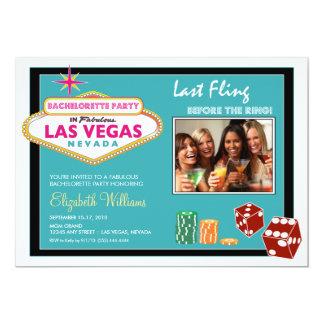 Vegas Weekend Bachelorette Party Invitation (aqua)