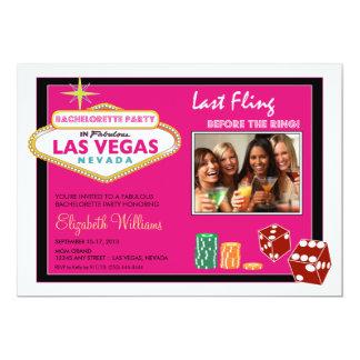 Vegas Weekend Bachelorette Party Invite (fuschia)