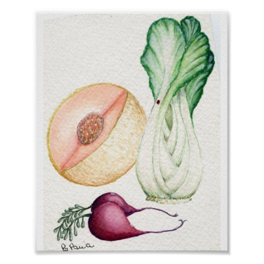 vegetable and fruit watercolor poster