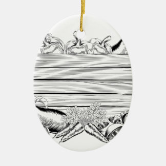 Vegetable and Fruits Produce Sign Ceramic Ornament