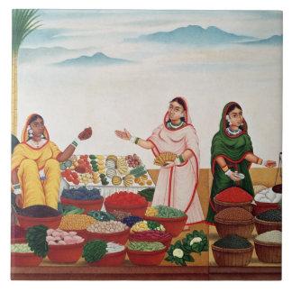 Vegetable and Spice Market at Benares, c.1840 (gou Ceramic Tiles