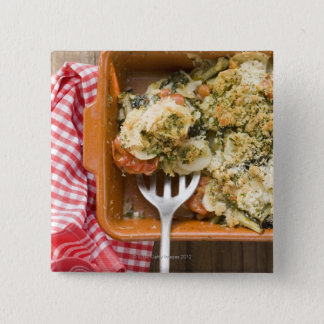 Vegetable bake with potatoes, tomatoes, leeks pinback button