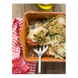 Vegetable bake with potatoes, tomatoes, leeks postcard