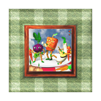 Vegetable band on blanket border canvas wrap print stretched canvas print