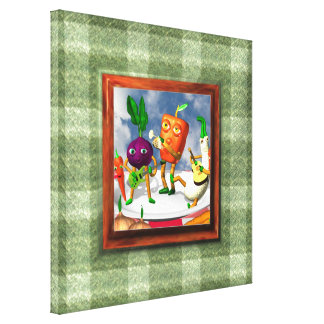 Vegetable band on blanket border canvas wrapped canvas prints