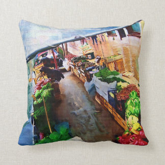Vegetable Boat Venice Italy Throw Pillows