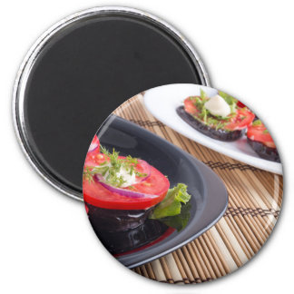 Vegetable dishes of stewed eggplant and fresh red magnet