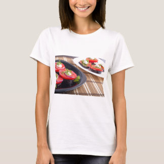 Vegetable dishes of stewed eggplant and fresh red T-Shirt