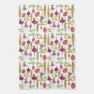Vegetable Drawing Carrot Beet Raddish Art Towel