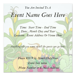 Vegetable Garden 5.25x5.25 Square Paper Invitation Card