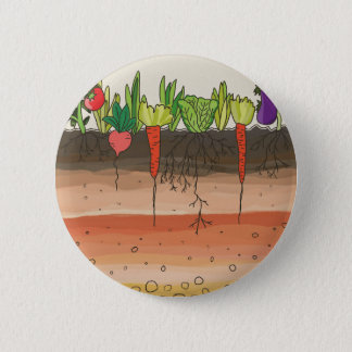 Vegetable garden soil earth layers nature art pinback button