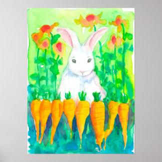 Vegetable Garden White Rabbit Poster