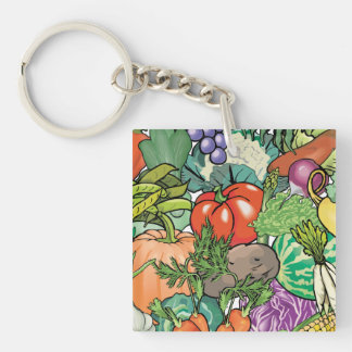 Vegetable Gardener Single-Sided Square Acrylic Keychain