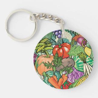 Vegetable Gardener Single-Sided Round Acrylic Keychain