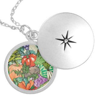 Vegetable Gardener Round Locket Necklace