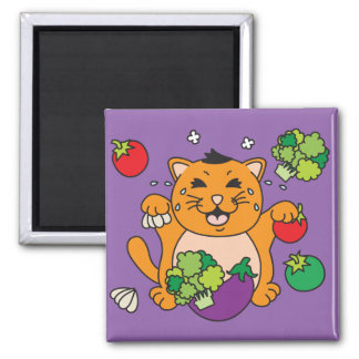 Vegetable Kitty Cat 2 Inch Square Magnet